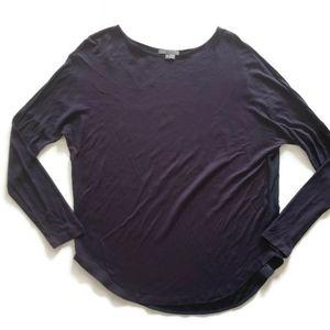 Vince Blue Silk Drop Sleeve Boat neck Shirt